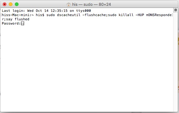 reset flush dns on mac os x 10.11