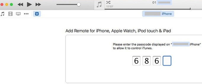 enter 4 digit passcode to make Remote pair on iTunes and iOS device