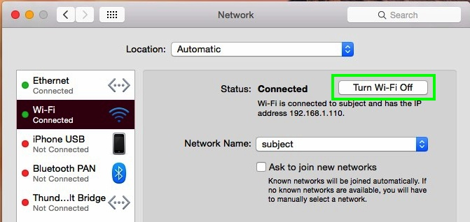 Disable Wi-Fi and Ethernet on Mac OS X