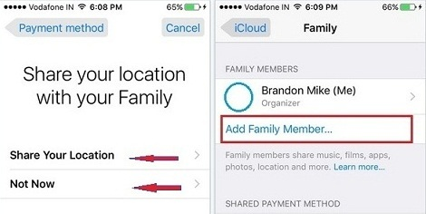 setup of family sharing on iPad and iPod Touch 5th and 6th generaion