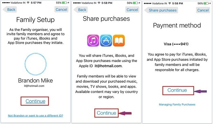 how to do setup of family sharing in iOS 9