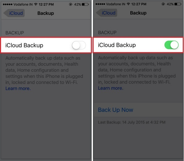 How to create icloud backup