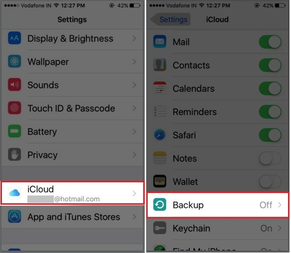How to turn on enable iCloud backup on iPhone iOS 9