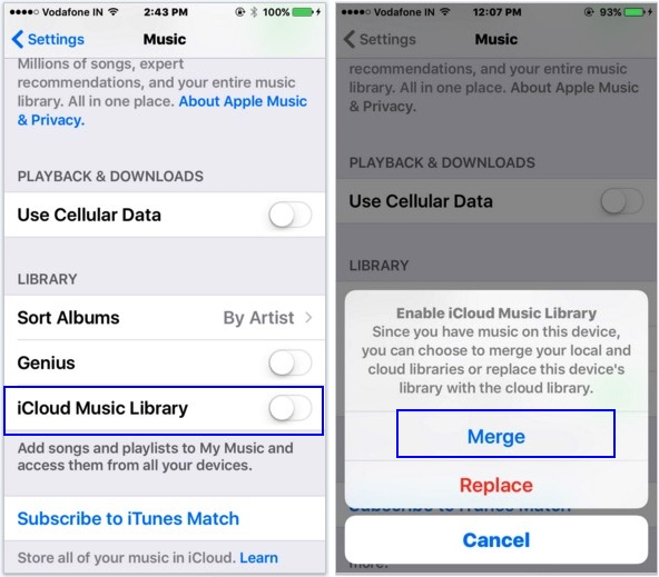 apple music songs gone enable music library