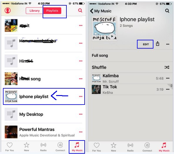 Edit playlist in iPhone music app