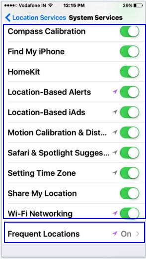 Location tracking settings for apps