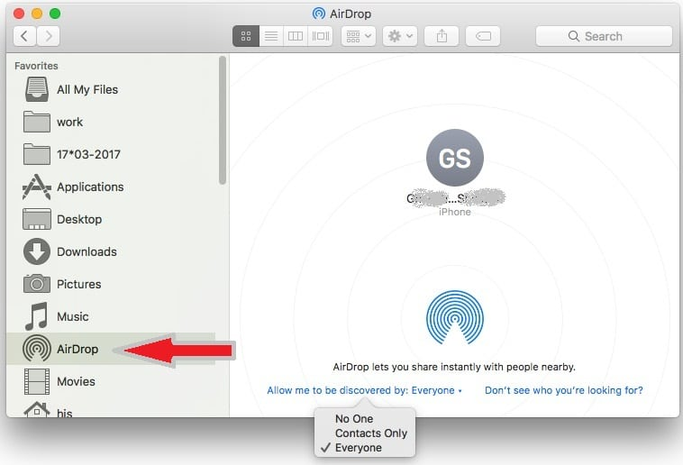 6 Send File from Mac using Airdrop on iPhone iPad and iPod Touch