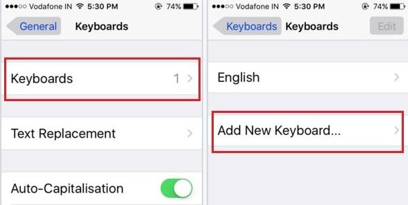 add emoji keyboard  on iOS 9