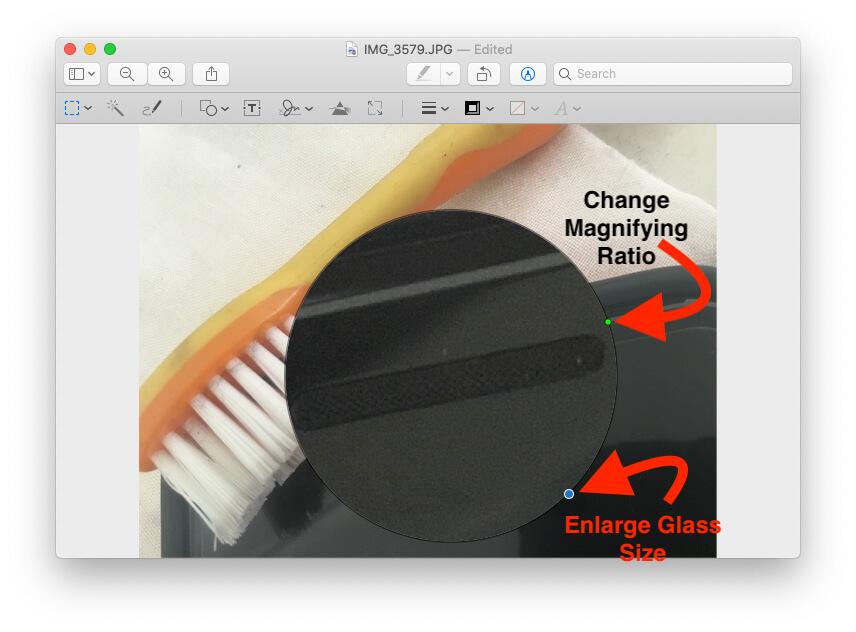 Изменить размер увеличительного стекла при предварительном просмотре на Mac