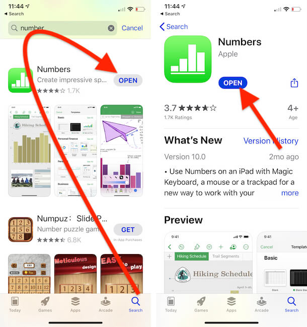 Download and Open Numbers app on iPhone