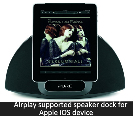 Airplay supported speaker dock for Apple
