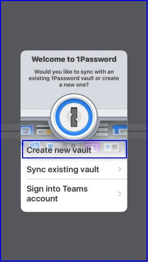 Create a new Setup on 1Password iOS app