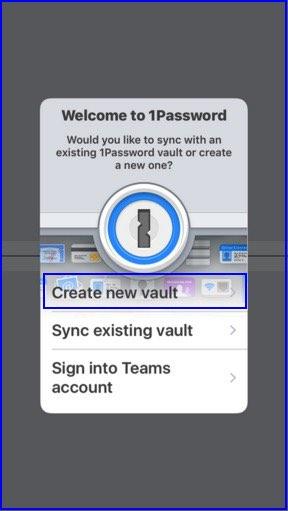 Create a new Setup on 1Password iOS app