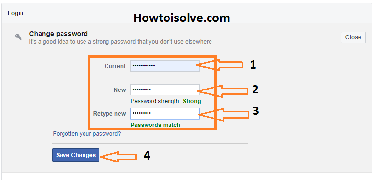 enter old password and then enter new password two times then click Save Changes