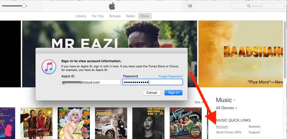 1 see iTunes account login on Mac iTunes store