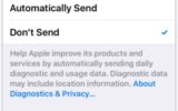 Stop auto sent details to Apple