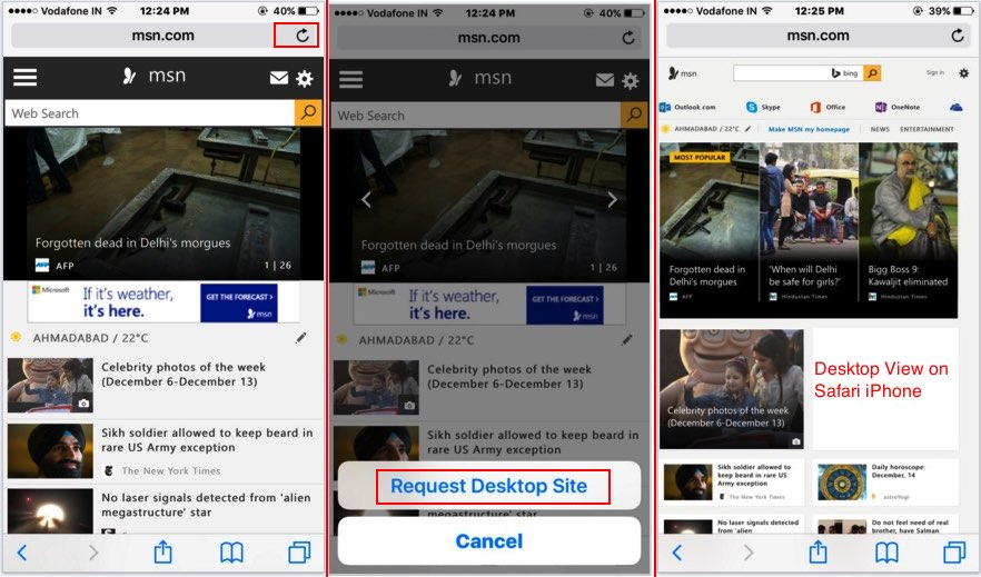 steps on view mobile website in desktop view on iOS 9