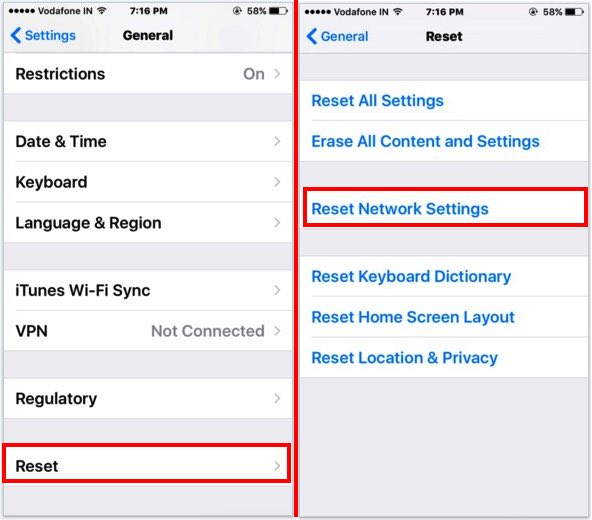 reset all network settings from iPhone