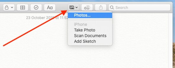 Add Photo on Mac Notes app