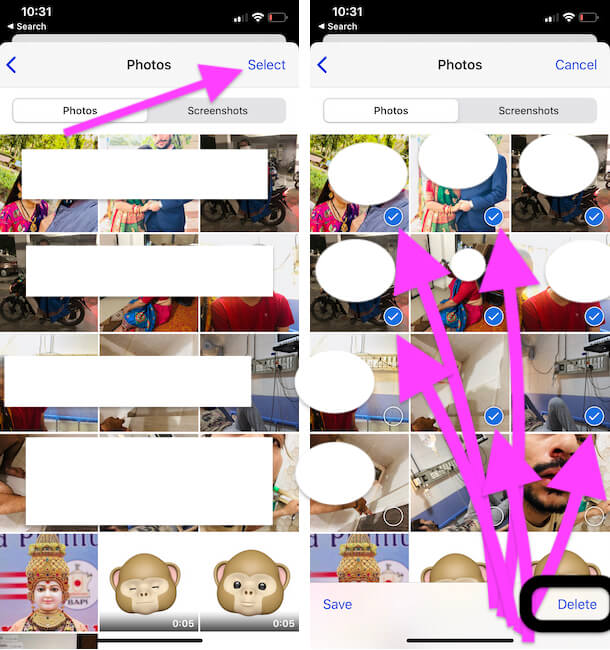 Select Multiple photos from iMessage on iPhone