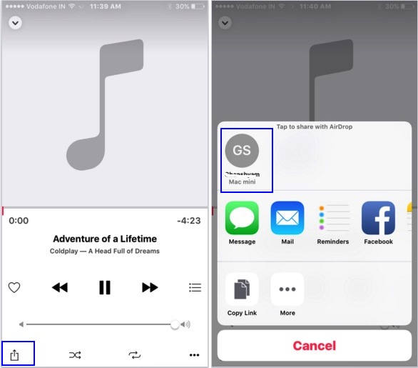 Share music on iOS device via AirDrop