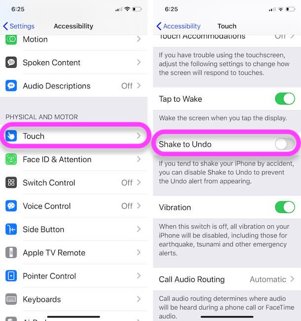 Turn off Shake to undo on iPhone