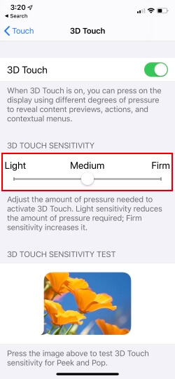 change 3D touch sensitivity in iOS on iPhone