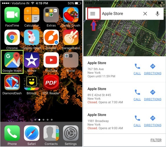 how to Change Km to miles in Google maps on iPhone, ipad