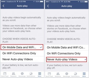 How to turn off Autoplay facebook video on iPhone app