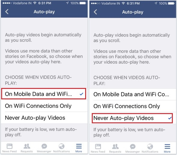 How to turn off Autoplay facebook video on iPhone iOS 9, iPad Air, ipad mini app