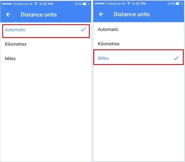 Apple iOS Google map app of iPhone screen of change distance units