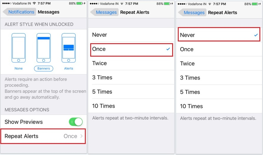 How to turn off repeat imessage alert on iPhone 6S, iPhone 6S PLus