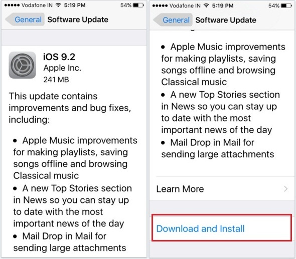 download and install screen for iOS 9.2 on iPhone 5S, 6S
