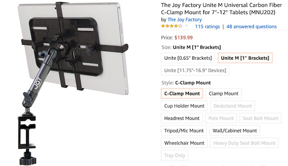 1). The Joy Factory iPad stand- Mini, iPad Air, iPad