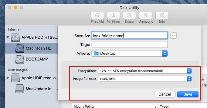 Apple types of security level on Folder