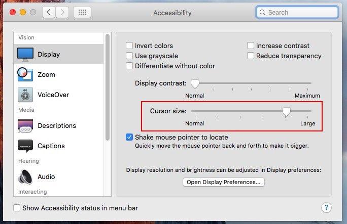change cursor size on Mac OS X EI Capitan, Yosemite