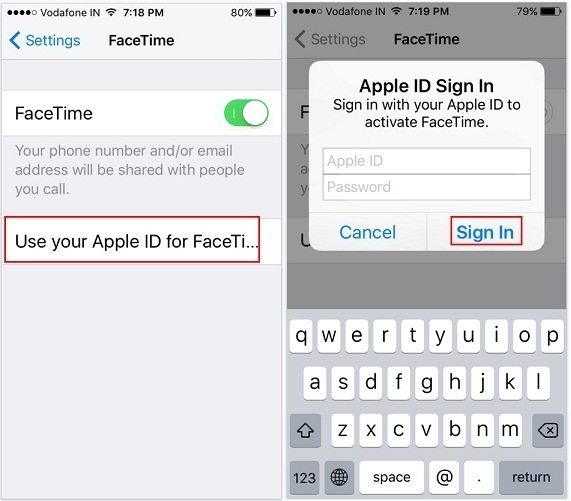 how to make Activate Facetime on iOS 9