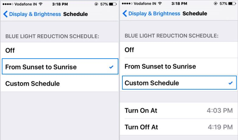 customize Blue light setting on iOS device