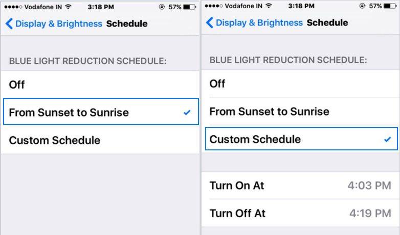 customize Blue light setting on iOS device
