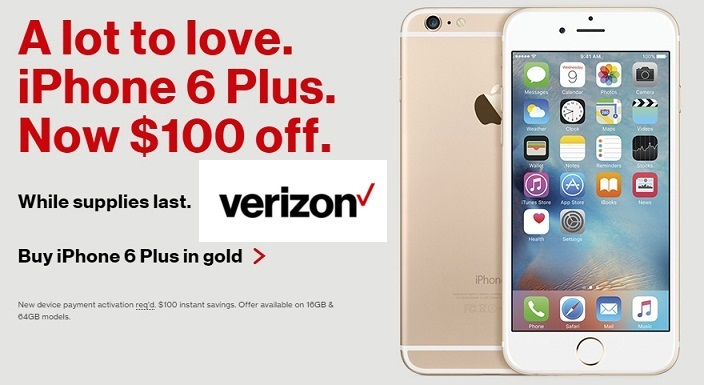 verizon iphone 6 plus deals verizon s day 2016 deals get 100 on iphone 18154