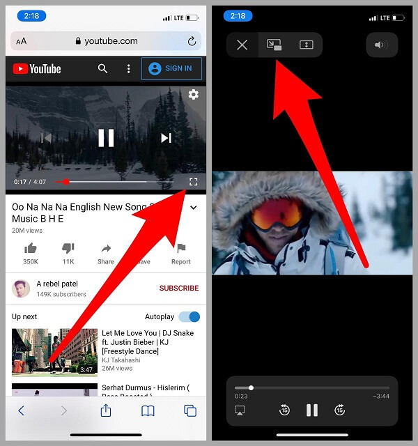 Youtube video in full screen mode on iPhone iPad Safari app