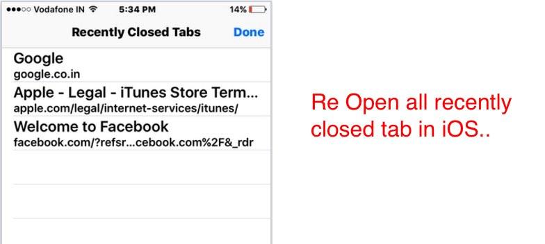recently closed window in safari app