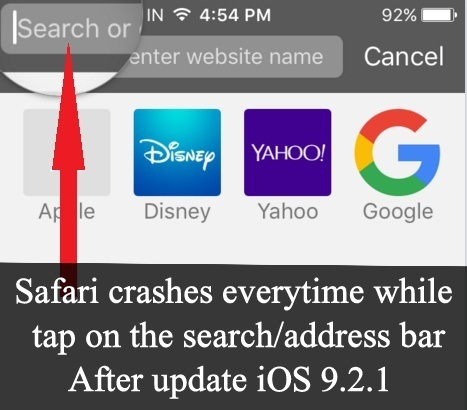 How to fix Safari crashing on iOS 9.xx