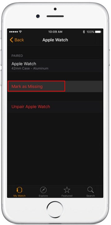 2 Enable lost apple watch from iPhone