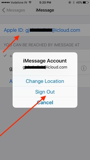 2 Sign out and Sign in Apple ID for iMessage
