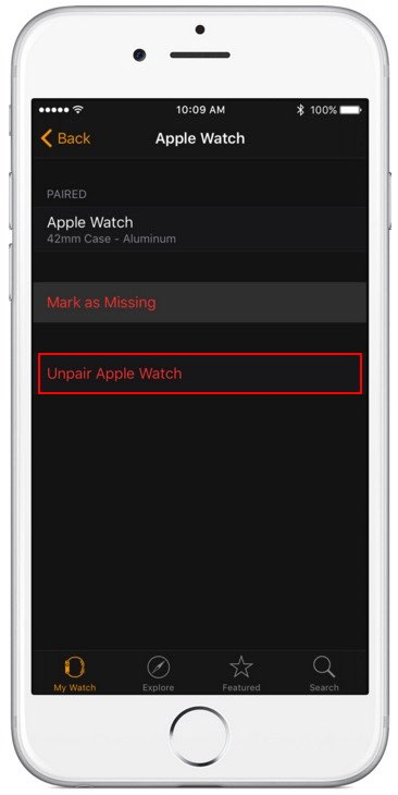 Unpair apple watch from iPhone watch app before sell