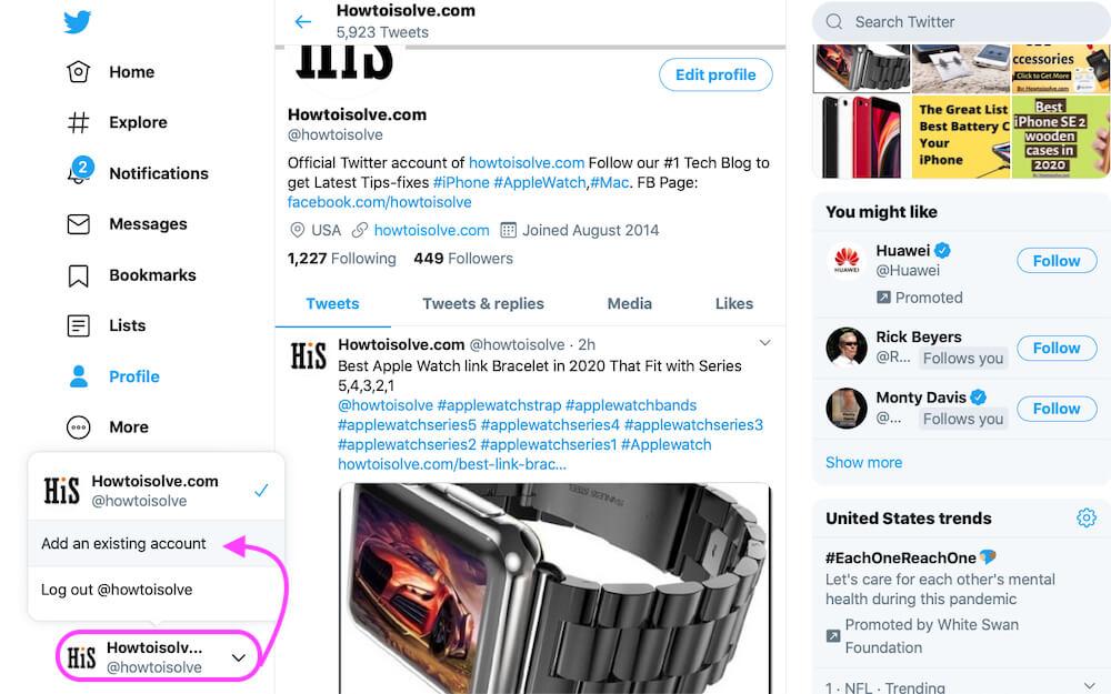 Add new Twitter account from Desktop Twitter account