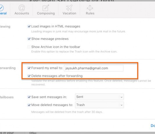 Auto forward all Mail from iCloud to Other Mail account permanently