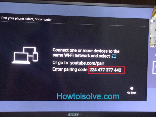 make Enter the pairing code shown on your TV