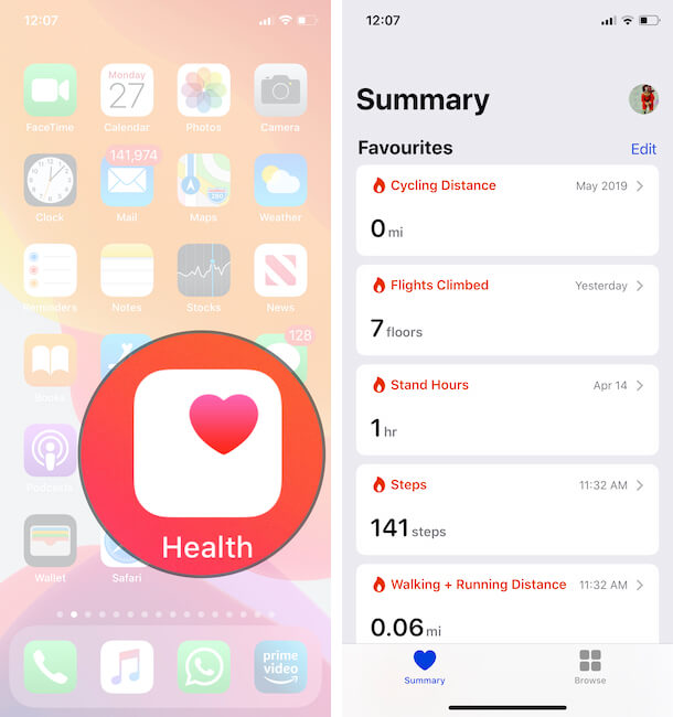 Health App on iPhone For Check Heart Rate